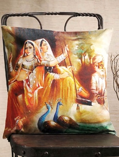 Traditional Village Women Print Cushion Cover - Veva's