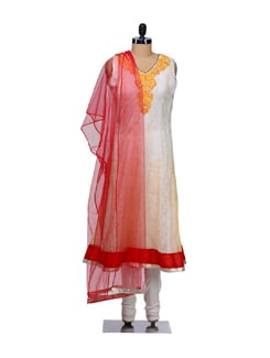Embroidered Off white Net Suit - NAVVYYA