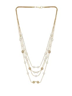 Elegant Multi-Chain Necklace With Pearls - THE PARI