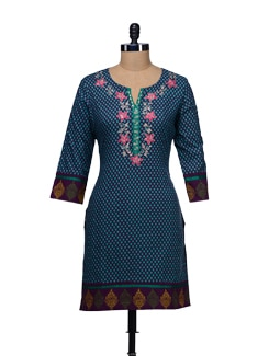 Floral Embroidered Printed Kurta - WILD WOMAN