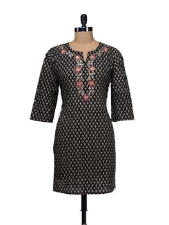 Floral Print Embroidered Kurta - WILD WOMAN