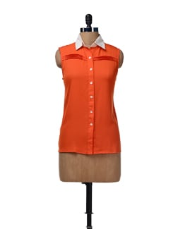 Orange Pleated Top - HERMOSEAR