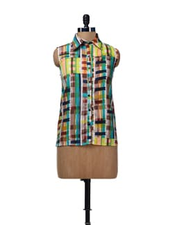 Multi Print Pleated Shirt - HERMOSEAR