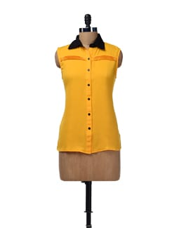 Yellow Pleated Shirt - HERMOSEAR