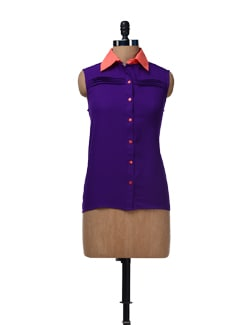Purple Pleated Shirt - HERMOSEAR