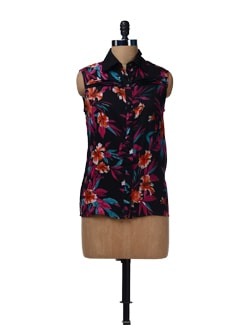 Flower Print Pleated Top - HERMOSEAR
