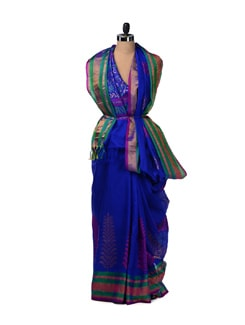 Electric Blue Silk Kota Saree With Zari Work - Aryaneel