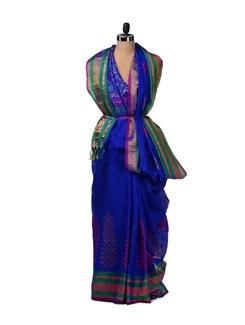 Electric Blue Silk Kota Saree With Zari Work - Aryaneel