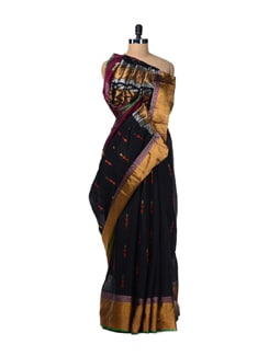 Embroidered Black Saree With Zari Border - Aryaneel