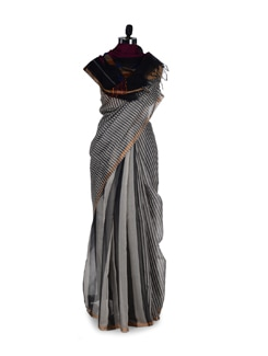 Designer Black & White Striped Saree - Aryaneel