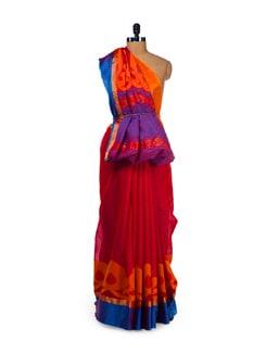 Elegant Red & Blue Saree With Zari Work - Aryaneel