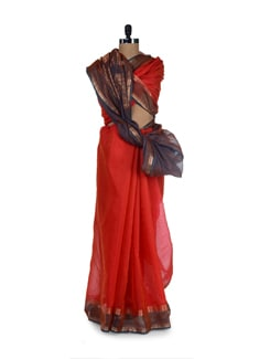 Designer Red Cotton Silk Saree - Aryaneel