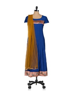 Royal Blue & Brown Kurta & Dupatta - JUNIPER