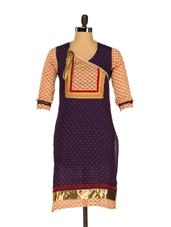 Printed Navy Kurta With Gold Tassles - JUNIPER