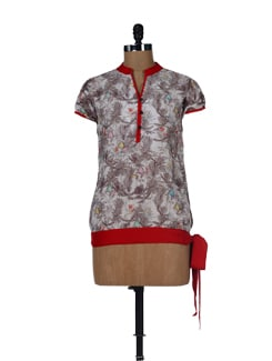 Red Tie-Up Printed Floral Top - Ayaany