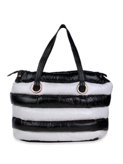 Striped Leather Bag - Bags By Just Women