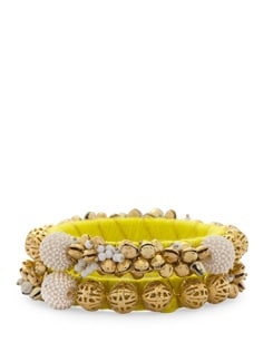 Stunning Pearl And Ghungroo Embellished Bangle- Yellow (Set Of 2) - Blingles