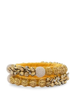 Stunning Pearl And Ghungroo Embellished Bangle- Golden Yelllow(Set Of 2) - Blingles