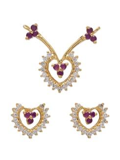 Gold & Purple Heart-Shaped Pendant Set - Mahi