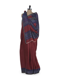 Red & Blue Printed Silk Saree - Sakrip
