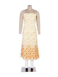 Yellow Embroidered Unstitched Kurta - Ada