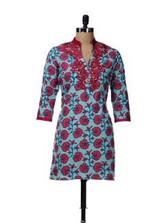 Blue Printed Kurta With Embroidery - AFSANA