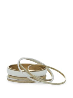 White And Gold Bangles - Toniq