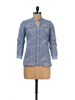 Printed Semi Sheer Shirt - Femella