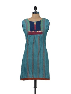 Blue Sleeveless Kurta With Mirror Work - Bohemyan Blue