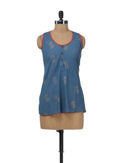 Block Printed Sleeveless Top - Bohemyan Blue