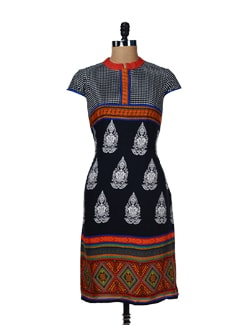 Trendy Black Buddha Print Kurta - Global Desi