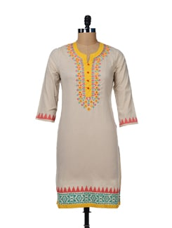 Embroidered Beige Kurta With Mirror Work - Global Desi