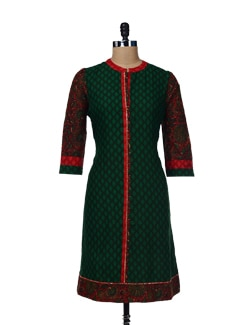 Designer Dark Green & Red Printed Kurta - Global Desi