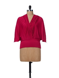 Wrap Effect Pink Top - AND