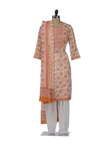 Dull Orange & Pink Printed Floral Suit - KILOL