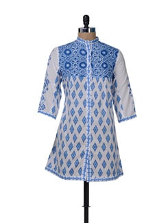 Stylish Blue & White Printed Long Shirt - KILOL