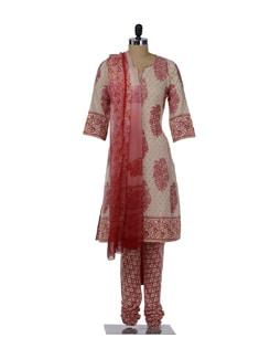 Elegant Cream & Red Printed Suit - KILOL