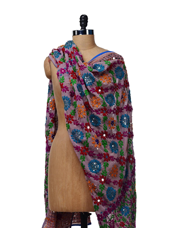 Purple Embroidered Dupatta - Vayana