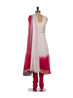 Elegant White & Pink With Front Slit - Varan