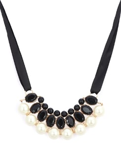 Chic Black & White Tie-Up Necklace - F.A.D.