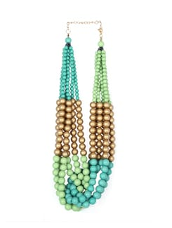 Green & Gold Twisted Beads Necklace - F.A.D.