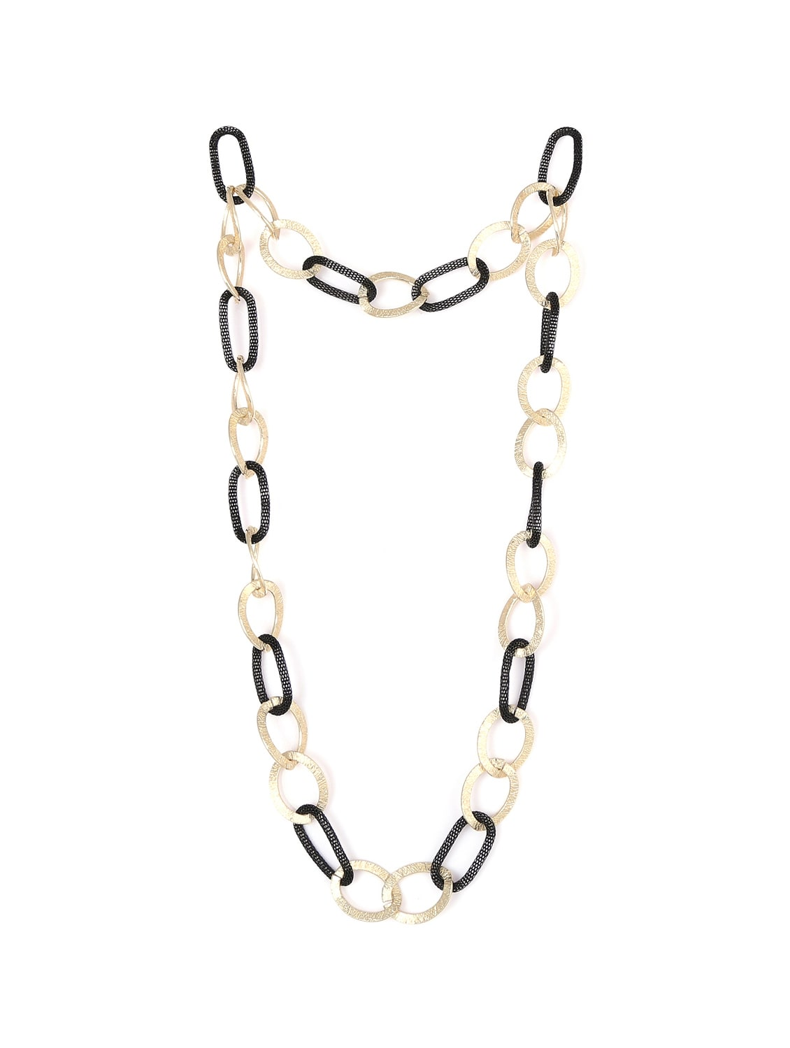 Black & Gold Interlocked Chain Necklace - F.A.D.