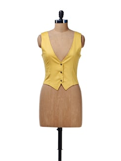 Dull Yellow Sleeveless Waist Coat - Cottinfab