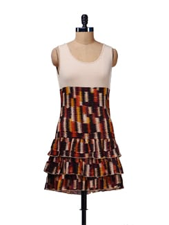 Earthy Printed Dress With Frills - Cottinfab