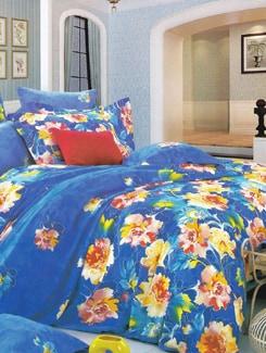 Blue Floral Printed Bedsheet Set - Just Linen