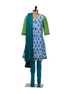 Leaf Print Cotton Suit - KURTAWALA