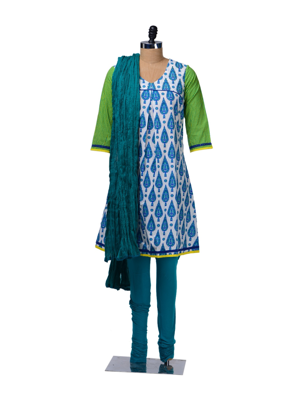 Leaf Print Cotton Suit - KURTAWALA