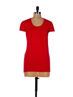 Ruby Red Pleated Top - MARTINI