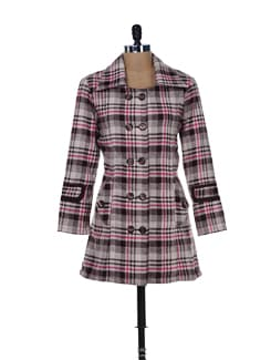 Double Breasted Checked Woollen Jacket - MARTINI