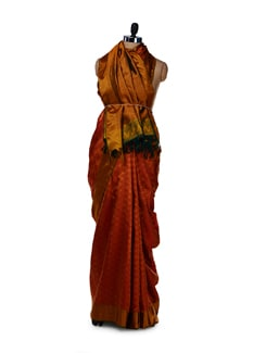 Designer Orange Woven Silk Saree - Saboo